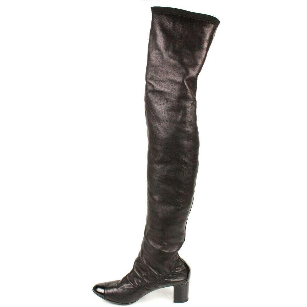 Chanel - Black Leather Knee High Boots - Block Heels - US ...