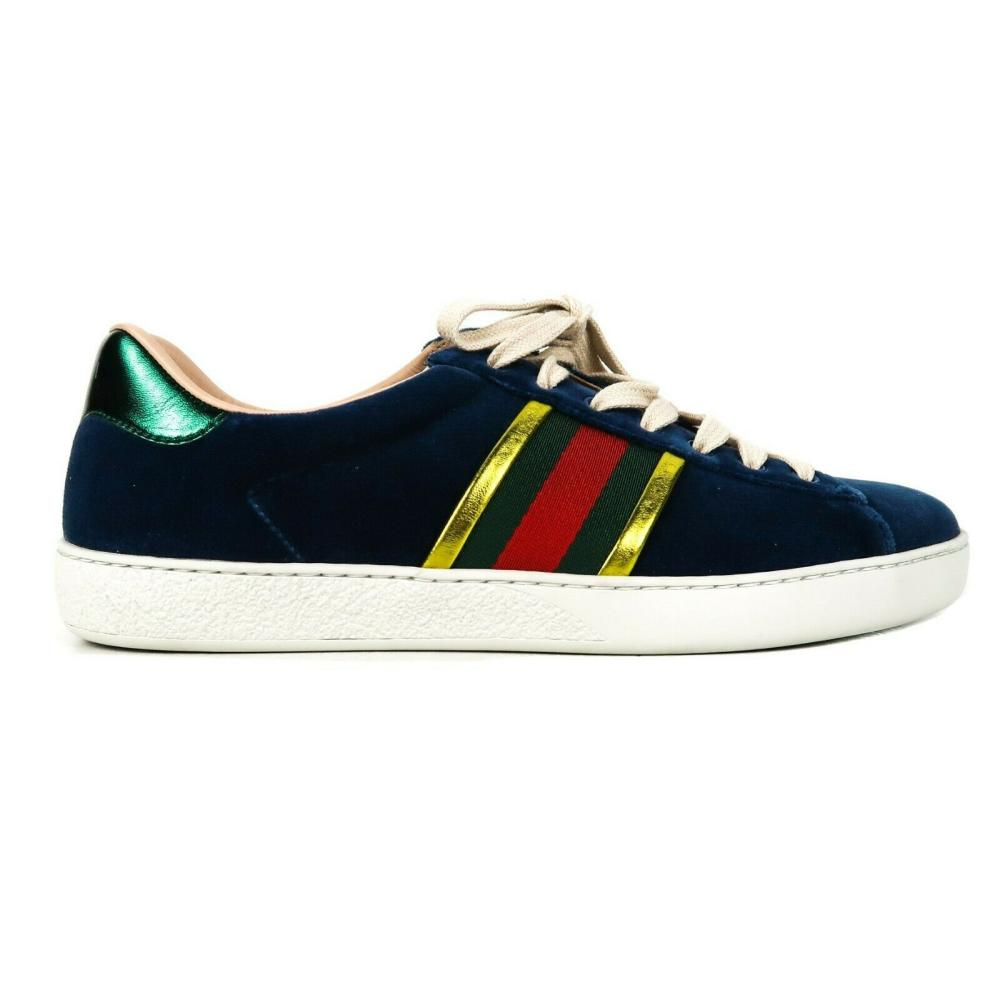 Gucci Velvet Ace Blue Sneakers Low Top Lace Up Stripe Gold