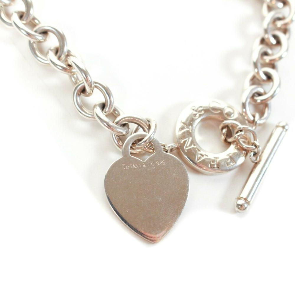 Tiffany Co Heart Charm Necklace Chain Link Sterling