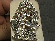 Natural Fancy Color Sapphire Solid Sterling Silver Ship Pendant 3/4 OZ