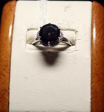 Beautiful Garnet with Diamond Chips Sterling Silver Ring.