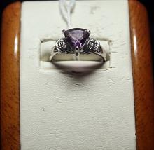 Beautiful Amethyst with Diamond Chips Sterling Silver Ring.