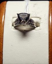Beautiful Antique Style Triangle Cut Topaz Sterling Silver Ring.