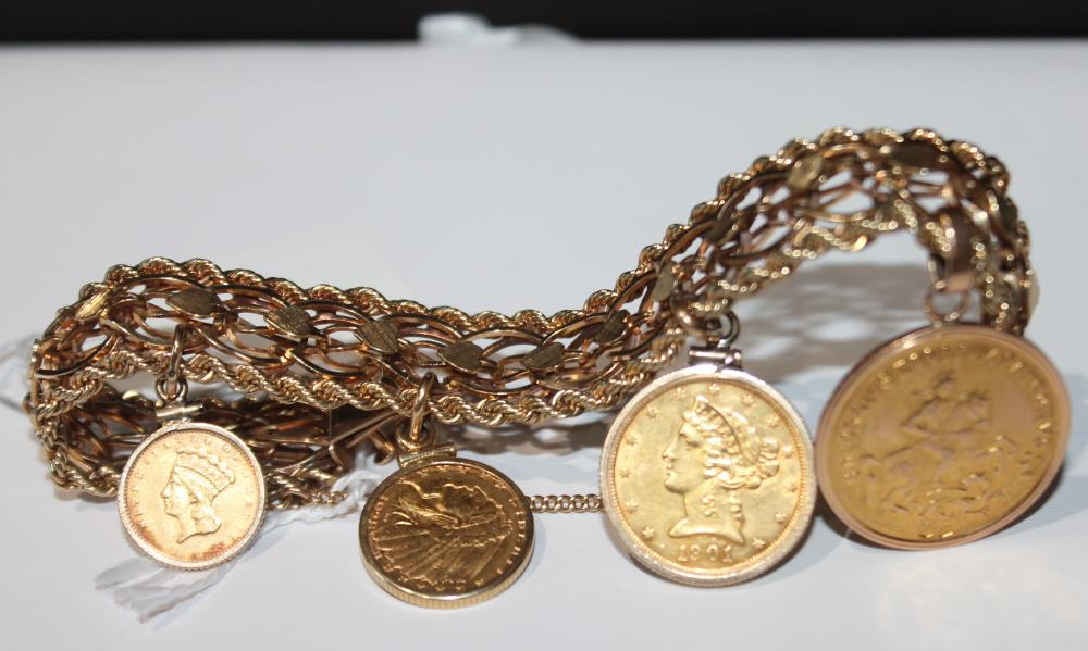 JEWELRY MARKED 14K GOLD COIN BRACELET