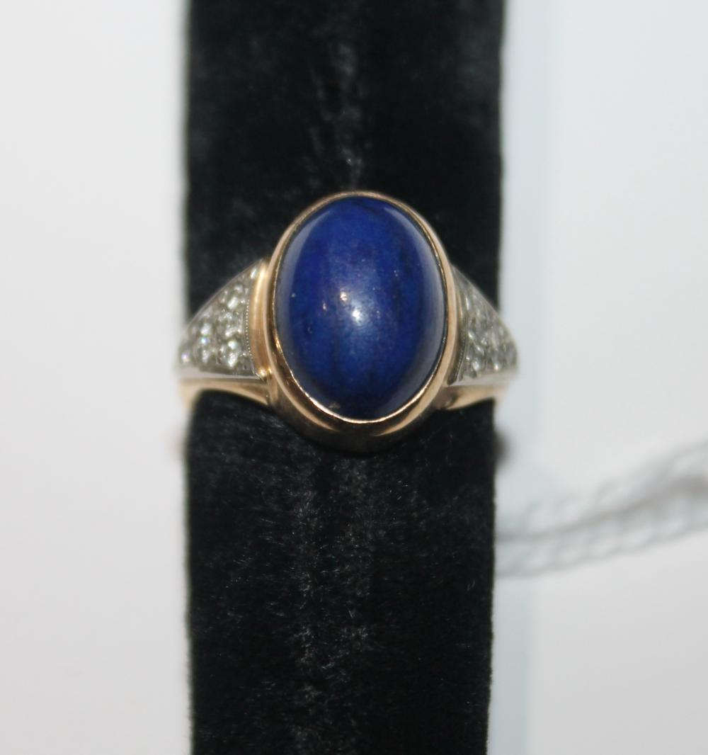 JEWELRY - LAPIS RING MARKED 14K
