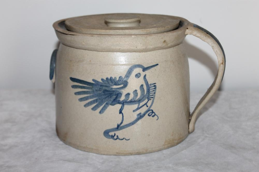 Antique Cobalt Blue Bird Decorated Stoneware Crock with Lid.