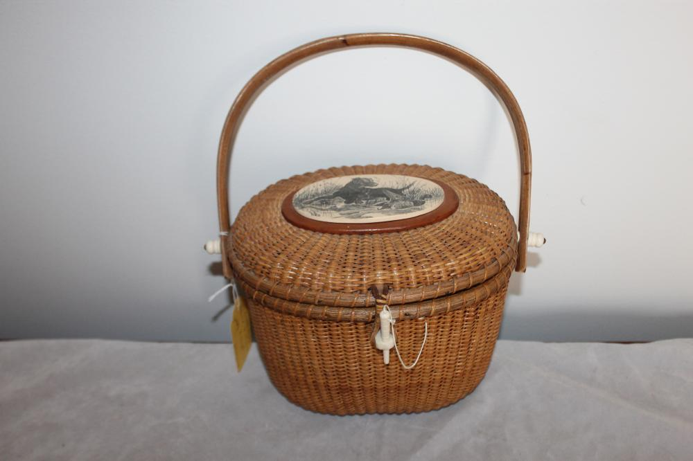 Nantucket Basket with Penny, Signed 'Larnum'