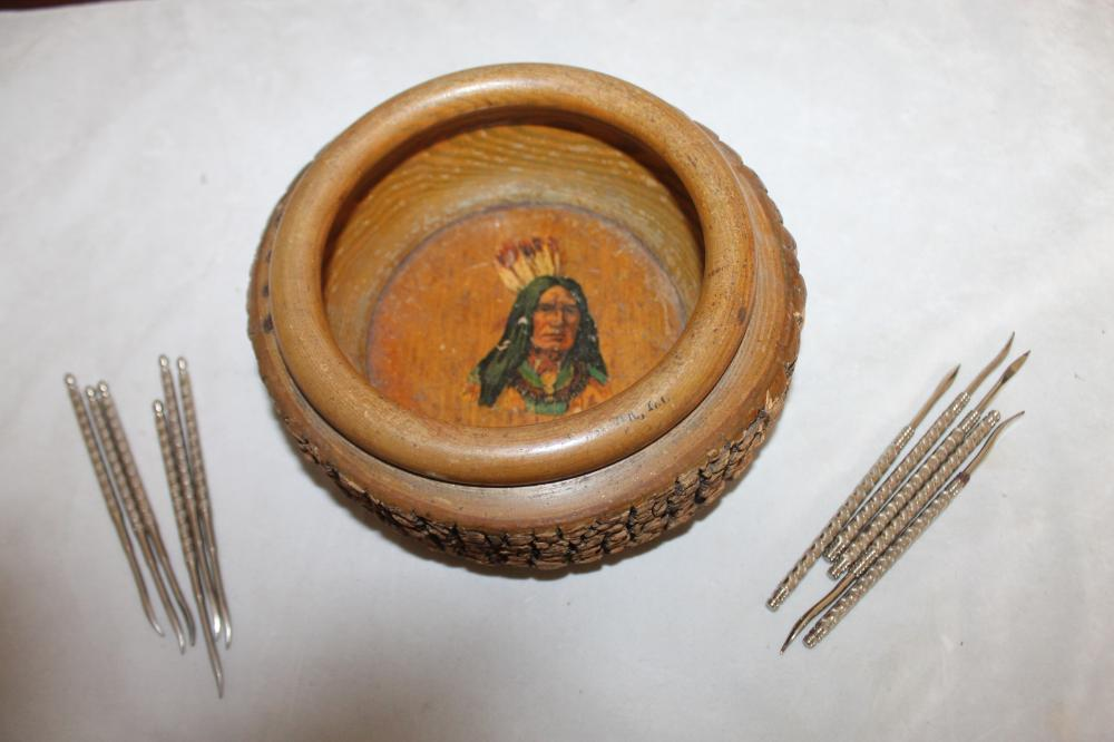 Wooden Bark Nut Cracker Bowl - Native American Indian