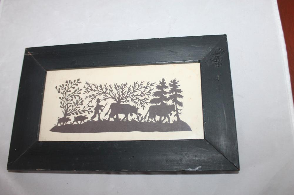 Vintage Silhouette Cut Out of Farmer & Animals