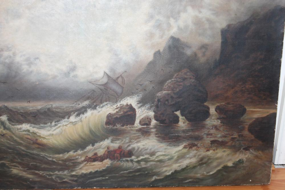 Shipwreck Oil Painting, E. P. Taylor