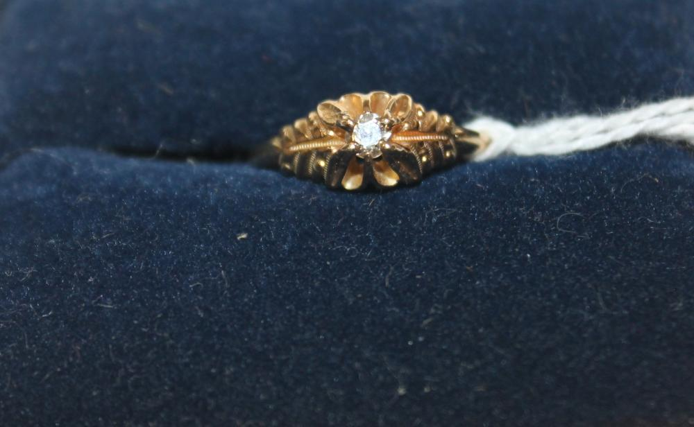 JEWELRY -- SOLITARE  DIAMOND RING MARKED 14K YELLOW GOLD