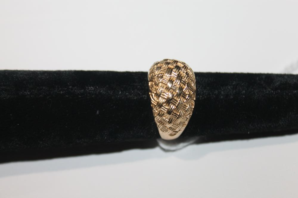 JEWELRY - BASKET WEAVE RING MARKED 14K
