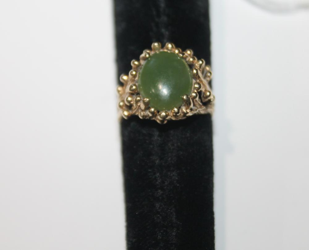 JEWELRY - JADE TWIG STYLE RING  MARKED 14K