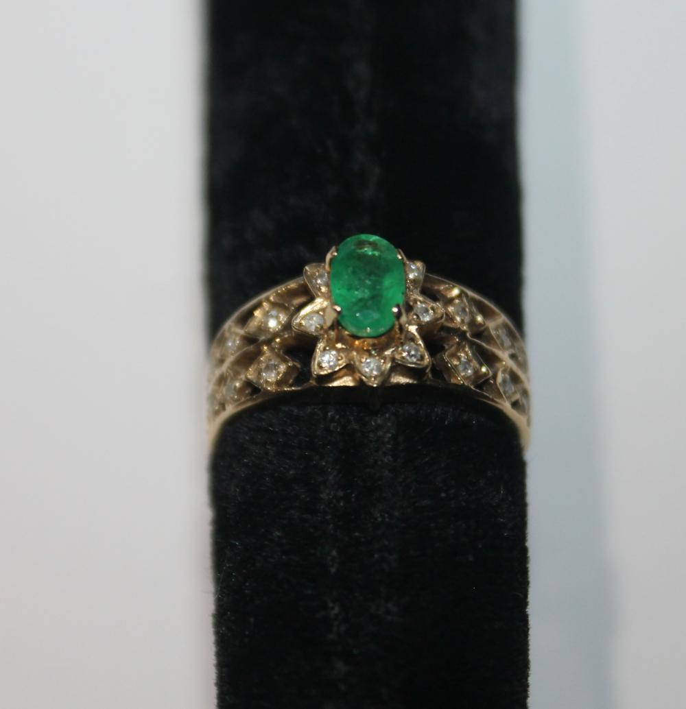 POSSIBLY JADE CENTER STONE RING WITH DIAMOND CHIPS MARKED 14K