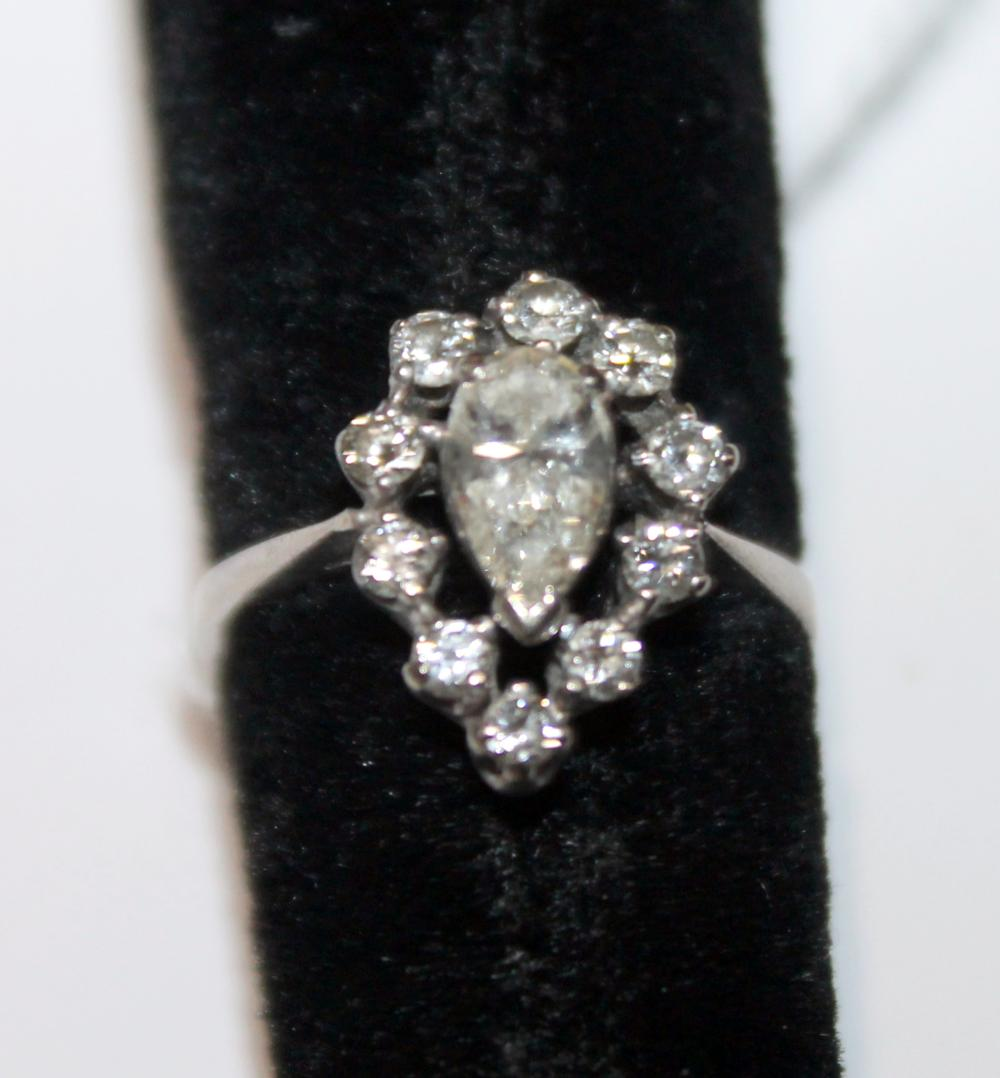 JEWELRY - DIAMOND PEAR RING MARKED 14K