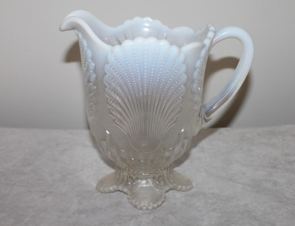 8 Inch Victorian White Opalescent Glass Carnival Glass Pitcher