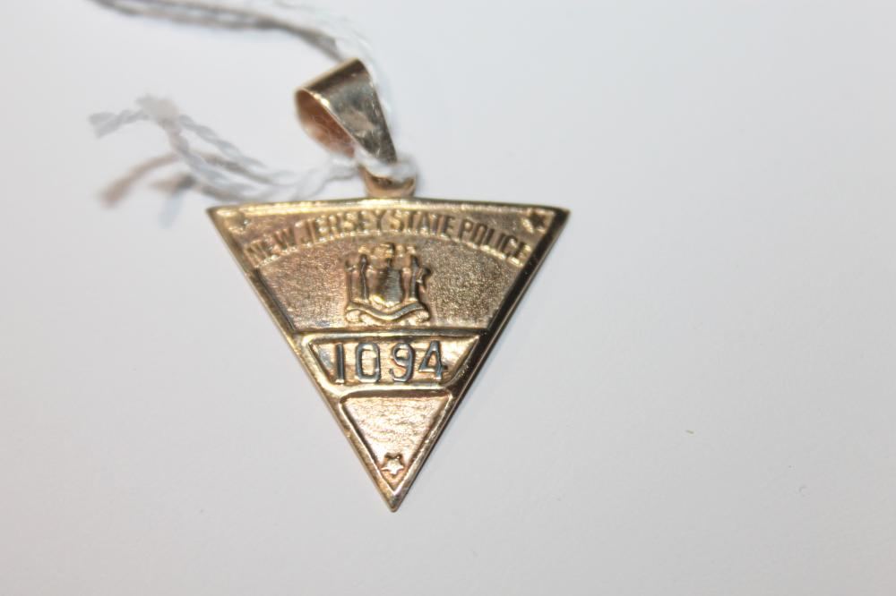 JEWELRY - STATE POLICE PENDANT, MARKED 14K