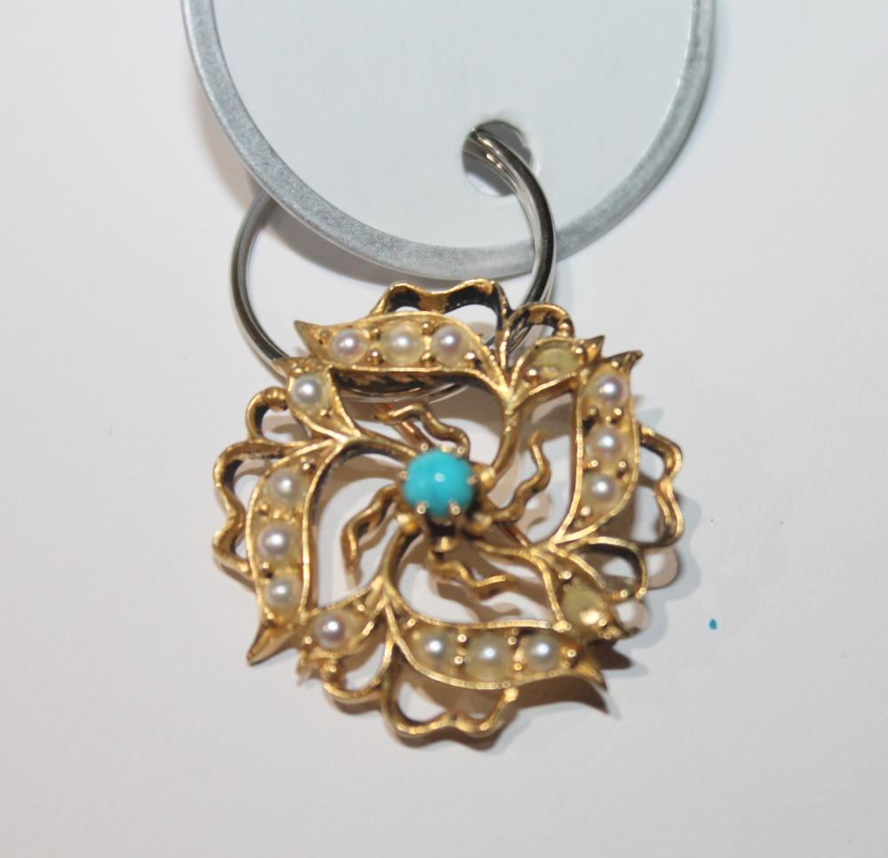 JEWELRY - GOLD PEARL & TURQUOISE PIN MARKED 18K