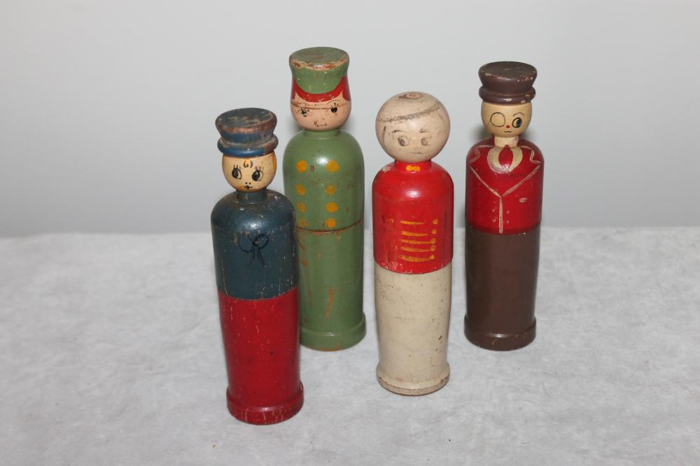 Lot of Vintage Wooden Doll Containers