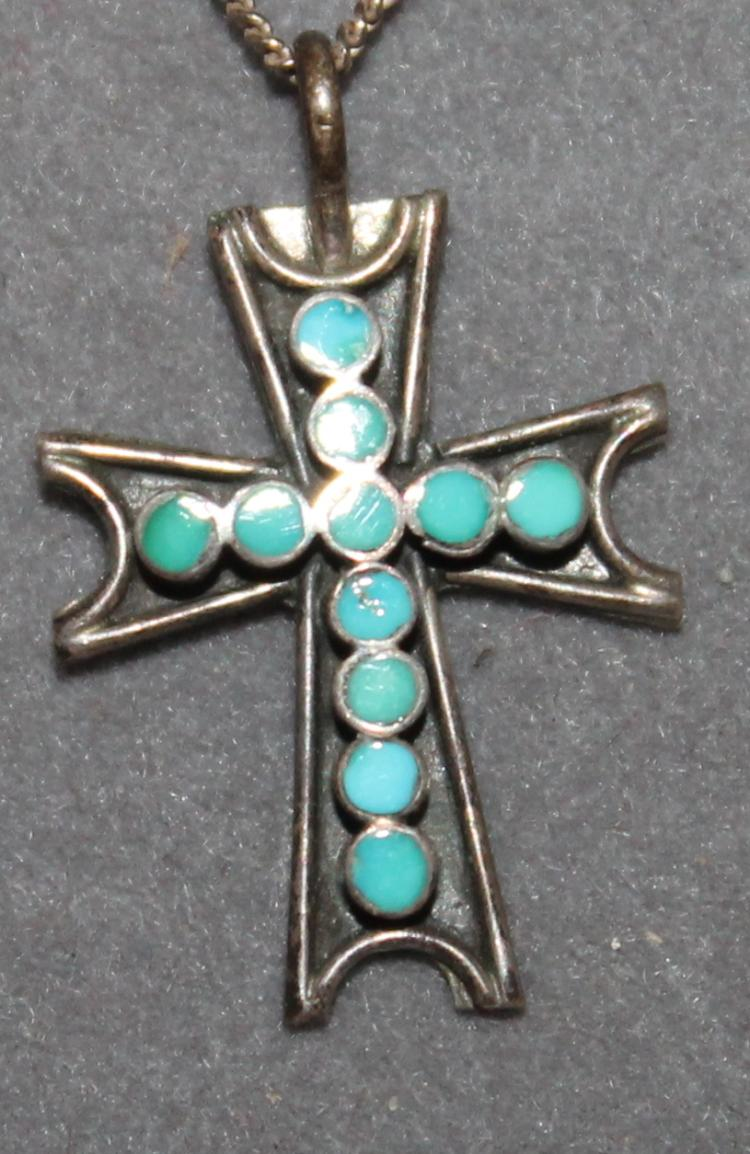 Zuni pueblo native american indian turquoise and sterling cr for Turquoise jewelry taos new mexico