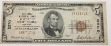 1929 Jones Woods The Chase National Bank Of The City Of New York $5.00 Bill VF