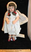 Beautiful Lenci Type 15 Inch Fur Trimmed Red Hood And Cape Cloth Doll