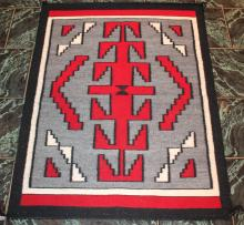 Native American Indian Late Transitional Early Regional Navajo Rug Rose Morgan Flagstaff