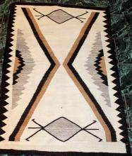 Native American Indian Late Transitional Navajo Rug With Bug Design 64 Inches By 41 Inches
