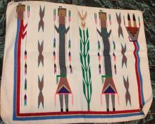Early Native American Indian Navajo Yei Rug 52 Inches By 39 Inches