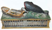 c1870's Jonah And The Whale Mechanical Bank For Parts