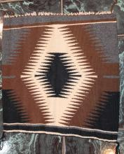 Native American Indian Navajo Small Tapestry Rug 17 Inches By 16 1/2 Inches Brown Tan Black and Grey