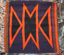 Native American Indian Navajo Small Tapestry Rug 18 Inches By 17 Inches Orange Blue and Green