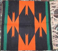 Native American Indian Navajo Small Tapestry Rug 18 Inches By 17 1/2  Inches Orange Green and Black