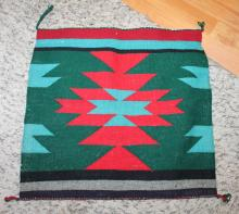 Native American Indian Navajo Small Tapestry Rug 19 Inches By 19 1/2  Inches Green Turquoise and Red