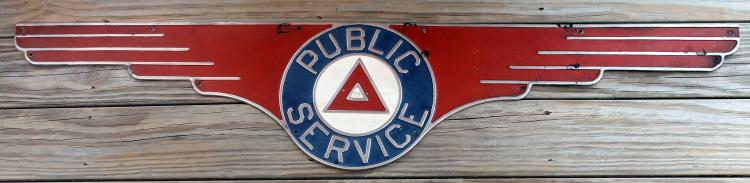 Fifty Two Inch 1930's Public Service Bus Sign