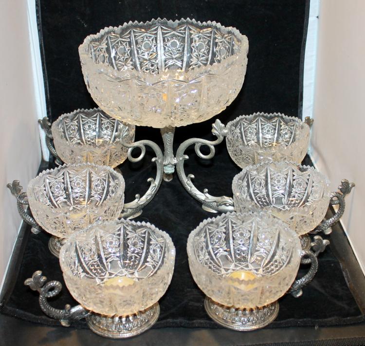 Beautiful Cut Glass Berry Bowl Set