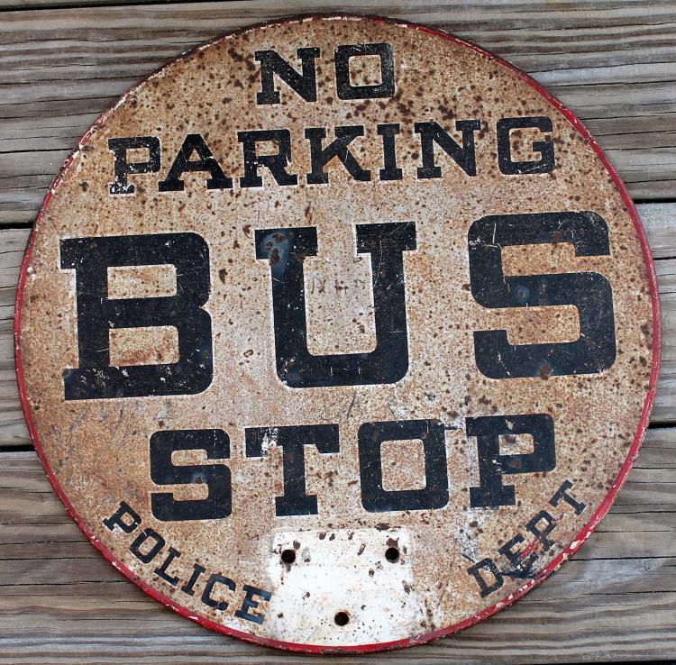 c1920's Cast Iron Porcelain Bus Stop Police Dept 2 Sided Sign