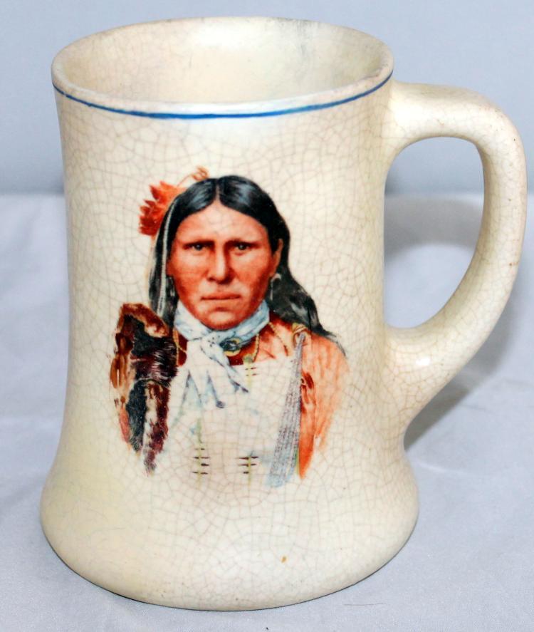 Roseville Pottery Creamware American Indian Mug