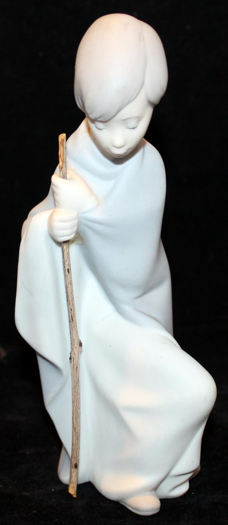 6 Inch Tall Lladro Shepherd Boy With Staff Figurine