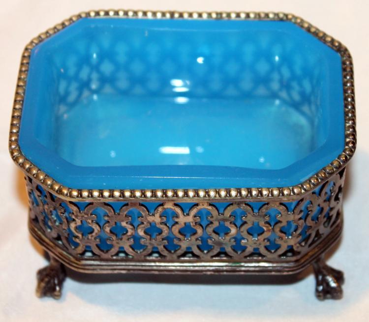 Fantastic Blue Azurite Glass In Silver Plate Large Master Salt