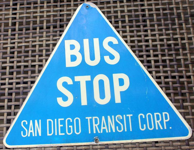 1960's San Diego Transit Corp Single Sided Bus Stop Sign