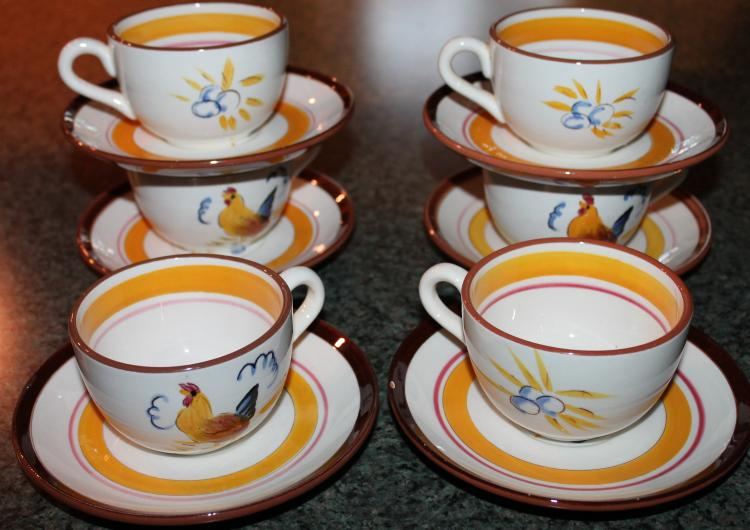 6 Stangl Pottery Cups And Saucers Country Life Roosters And Fruit