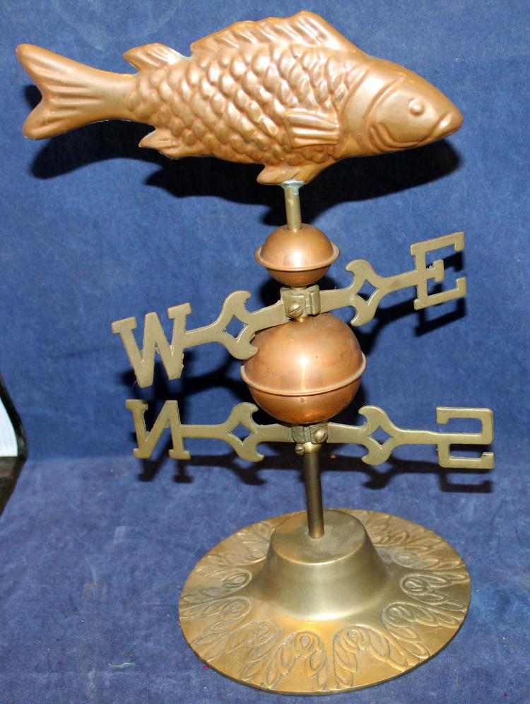 Fabulous Small Copper And Brass Fish Weather Vane