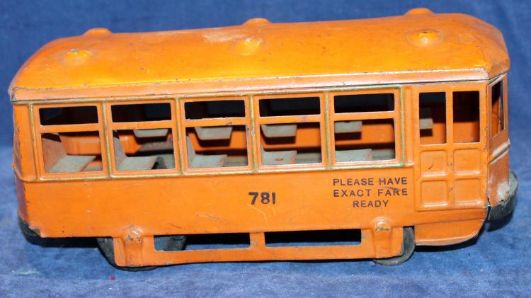 1940's Tin Lithograph Trolley Toy #781