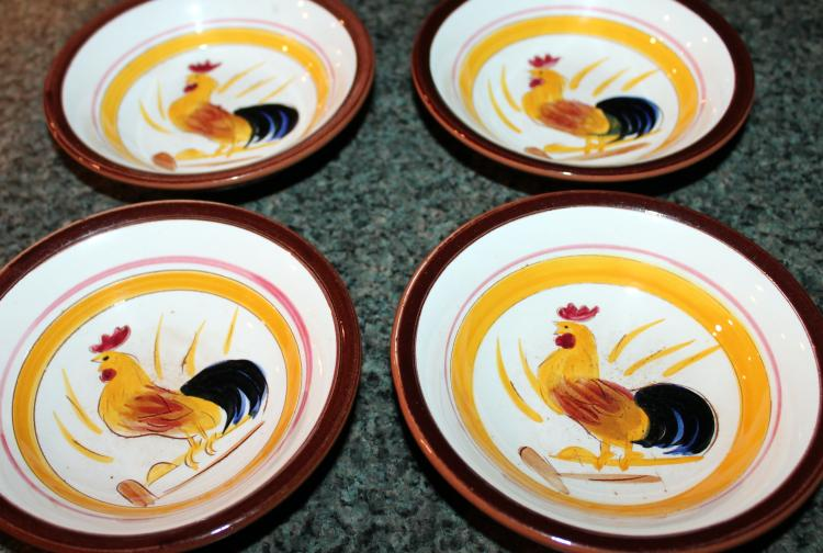 Set Of 4 Stangl Pottery Country Life 5 1/2 Inch Low Bowls Roosters