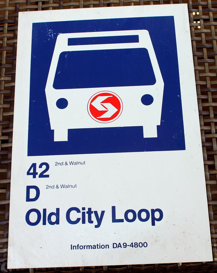 1970's Septa 42D Old City Loop 2 Sided Bus Stop Sign