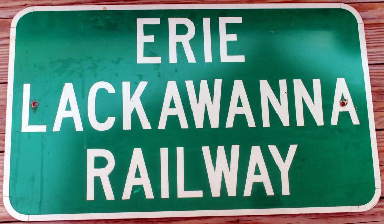Large 30 Inch Erie Lackawanna Railway Sign 1970's