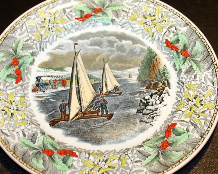 Adams Winter Scenes Engraving By N. Currier 10 1/2 Inch Diameter Plate