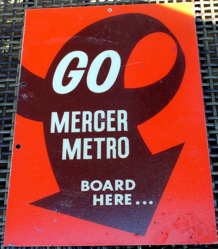 1980's Mercer Metro Transit 2 Sided Transportation Sign