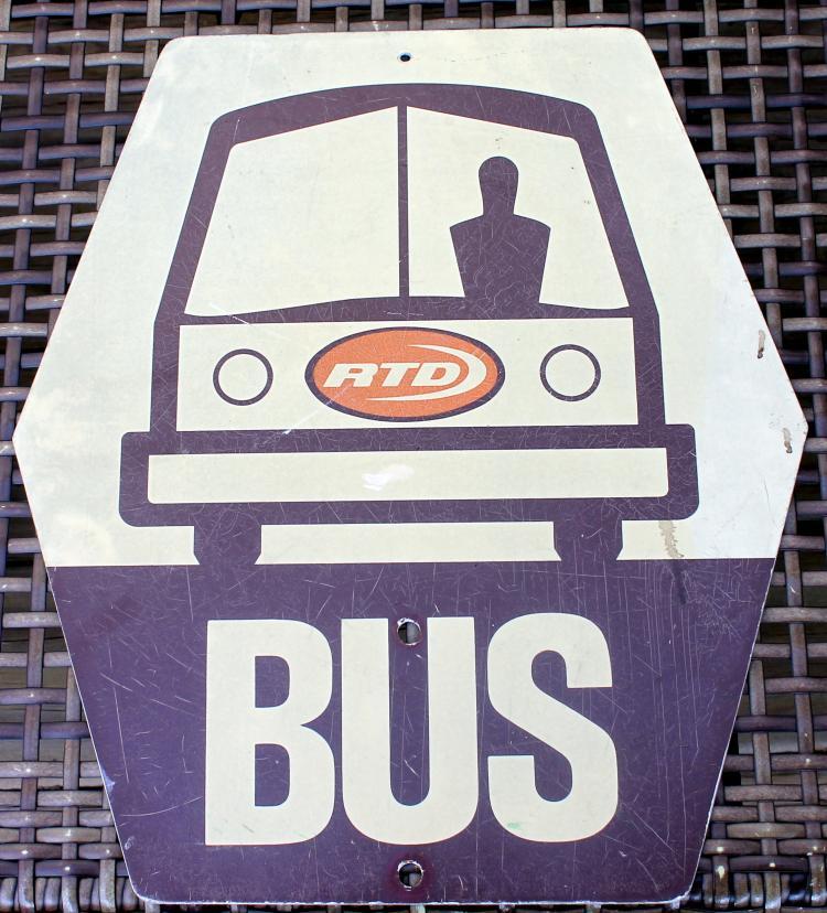 RTD Los Angeles California Transit Sign Single Sided 1970's